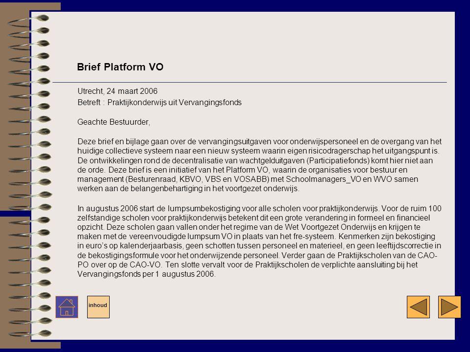 Brief Platform VO Utrecht, 24 maart 2006