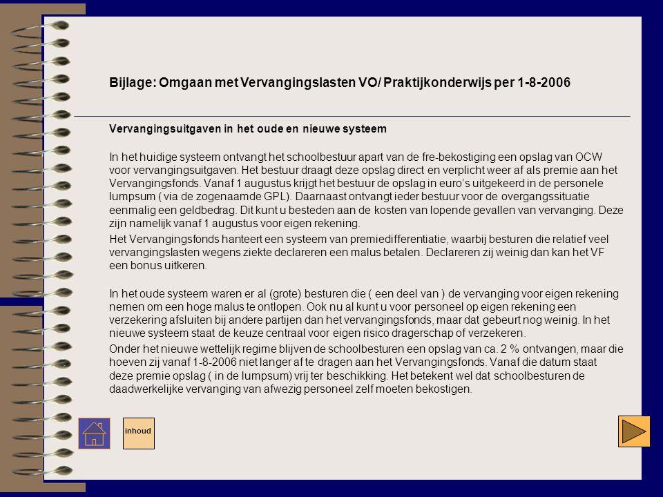 Bijlage: Omgaan met Vervangingslasten VO/ Praktijkonderwijs per 1-8-2006