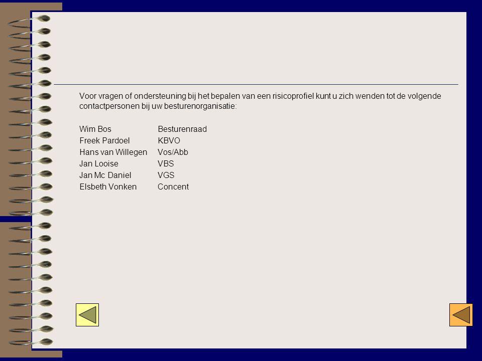 Voor vragen of ondersteuning bij het bepalen van een risicoprofiel kunt u zich wenden tot de volgende contactpersonen bij uw besturenorganisatie: