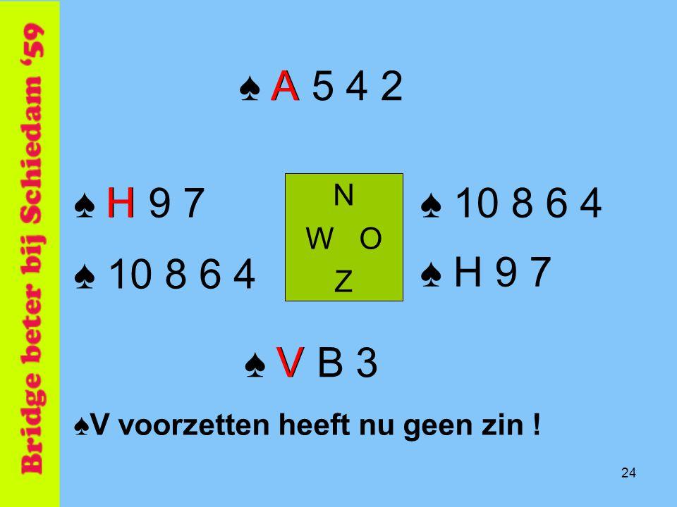 ♠ A 5 4 2 A. ♠ H 9 7. H. N. W O. Z. ♠ 10 8 6 4. ♠ 10 8 6 4. ♠ H 9 7. ♠ V B 3. V. ♠V voorzetten heeft nu geen zin !