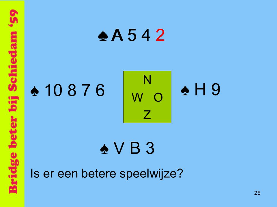 ♠ A 5 4 2 ♠ A 5 4 2 N W O Z ♠ 10 8 7 6 ♠ H 9 ♠ V B 3 Is er een betere speelwijze 25