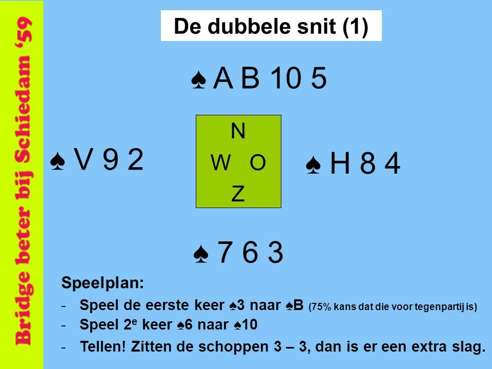 ♠ A B 10 5 ♠ V 9 2 ♠ H 8 4 ♠ 7 6 3 De dubbele snit (1) N W O Z