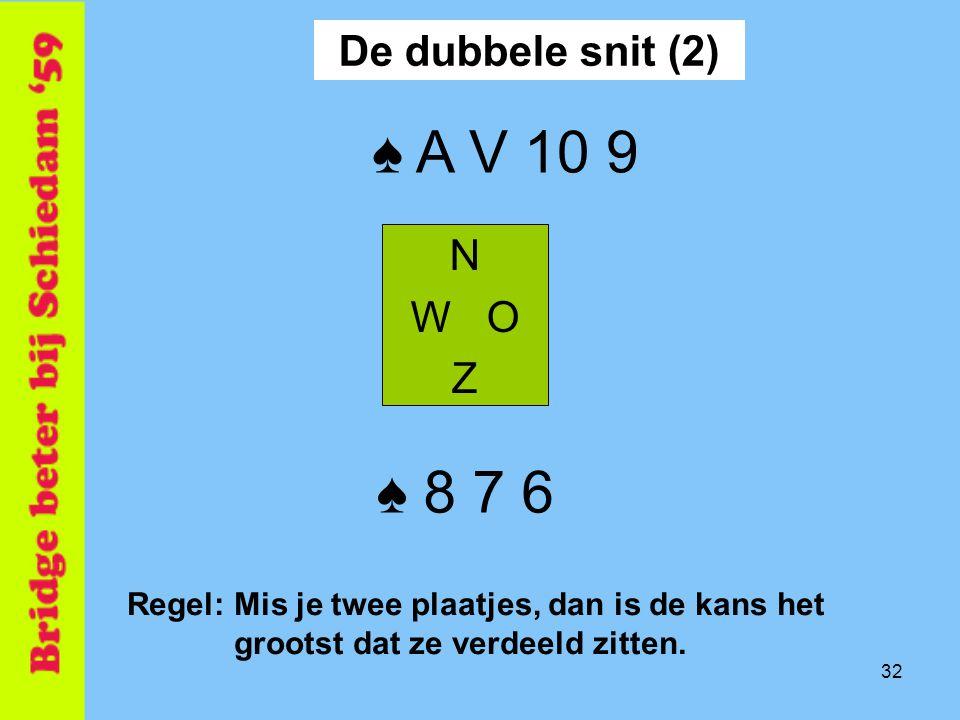 ♠ A V 10 9 ♠ 8 7 6 De dubbele snit (2) N W O Z
