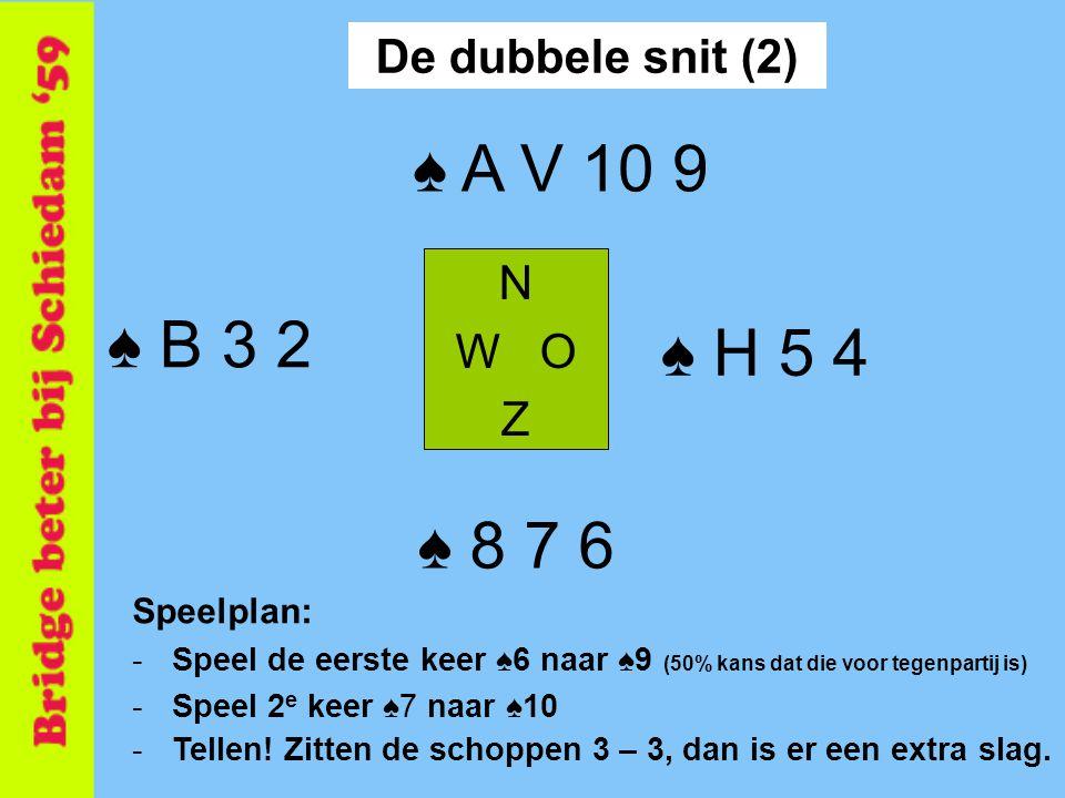 ♠ A V 10 9 ♠ B 3 2 ♠ H 5 4 ♠ 8 7 6 De dubbele snit (2) N W O Z