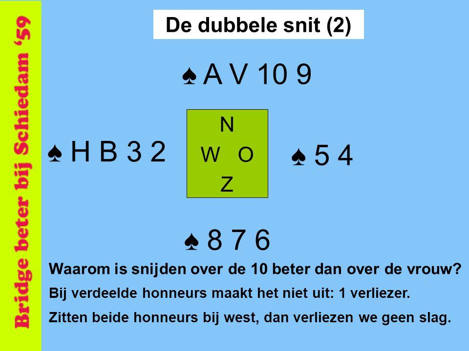 ♠ A V 10 9 ♠ H B 3 2 ♠ 5 4 ♠ 8 7 6 De dubbele snit (2) N W O Z