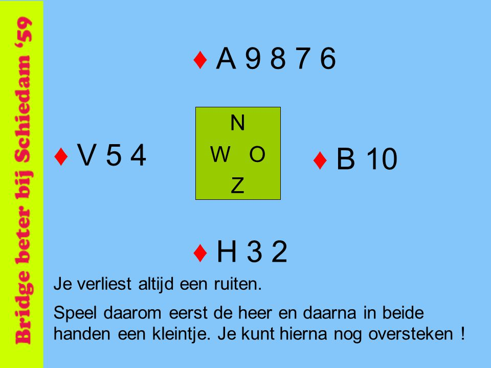 ♦ A 9 8 7 6 N. W O. Z. ♦ V 5 4. ♦ B 10. ♦ H 3 2. Je verliest altijd een ruiten.