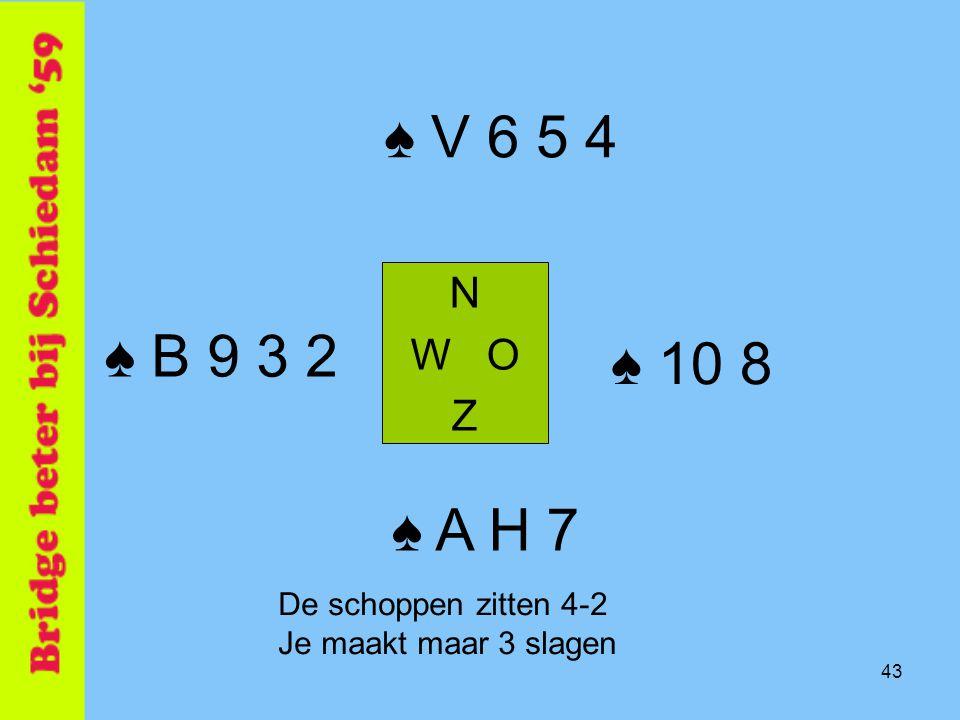 ♠ V 6 5 4 ♠ B 9 3 2 ♠ 10 8 ♠ A H 7 N W O Z De schoppen zitten 4-2