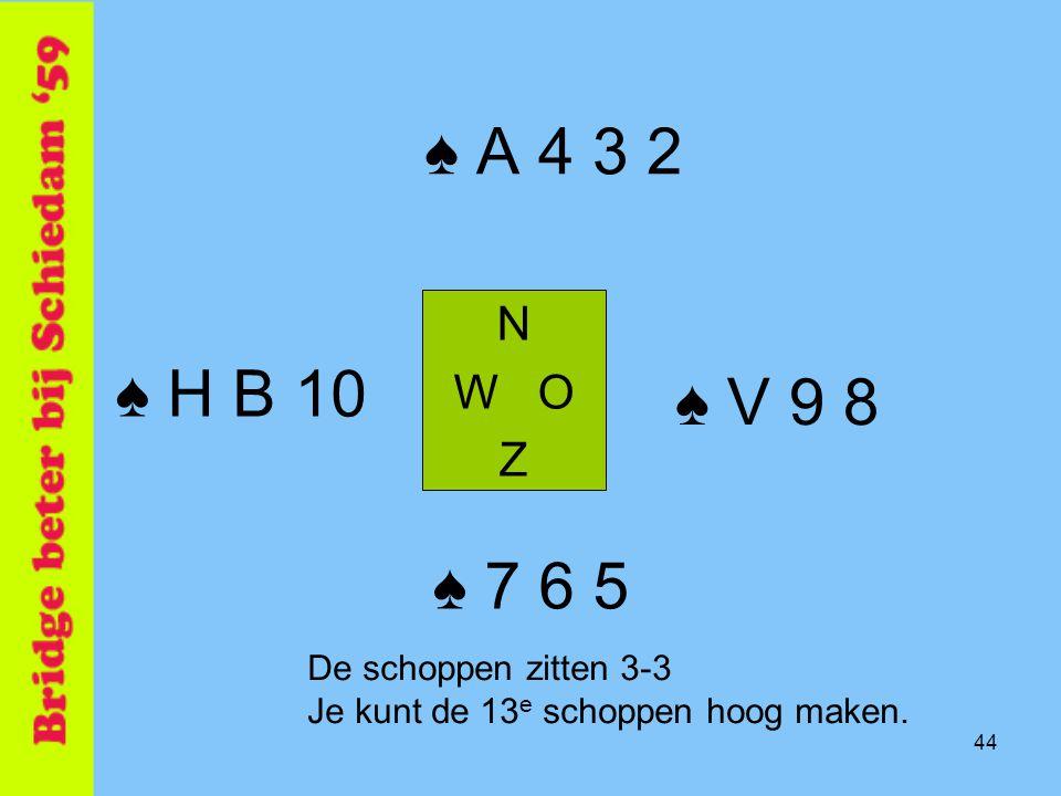 ♠ A 4 3 2 ♠ H B 10 ♠ V 9 8 ♠ 7 6 5 N W O Z De schoppen zitten 3-3