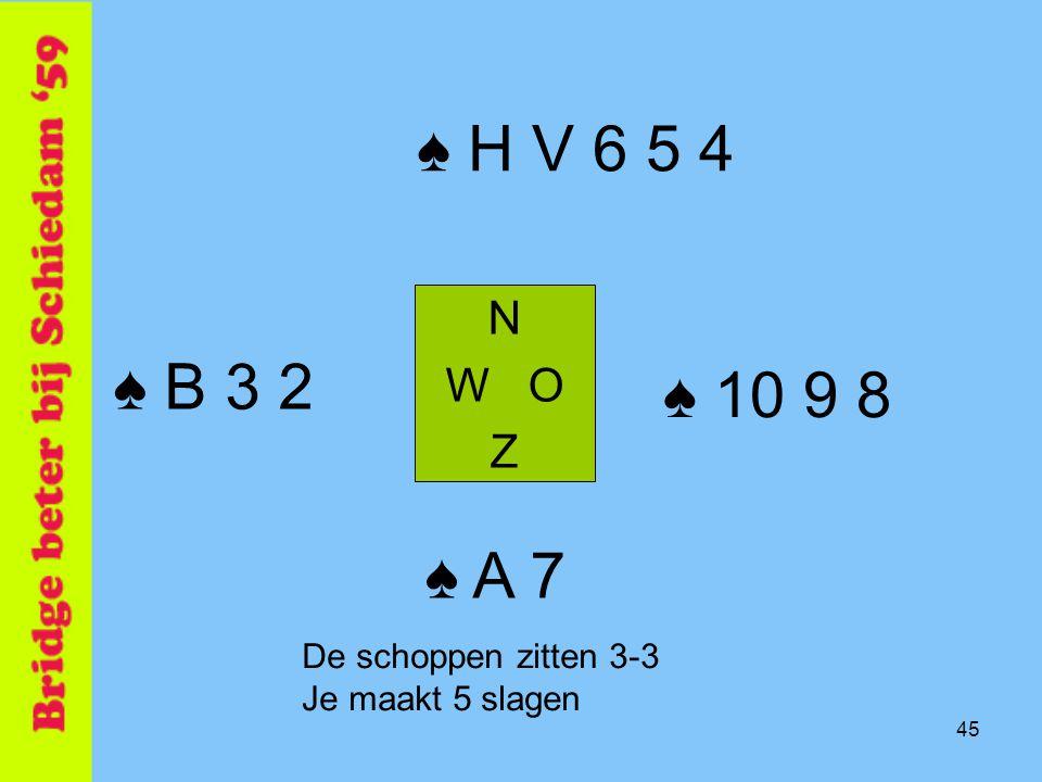 ♠ H V 6 5 4 ♠ B 3 2 ♠ 10 9 8 ♠ A 7 N W O Z De schoppen zitten 3-3