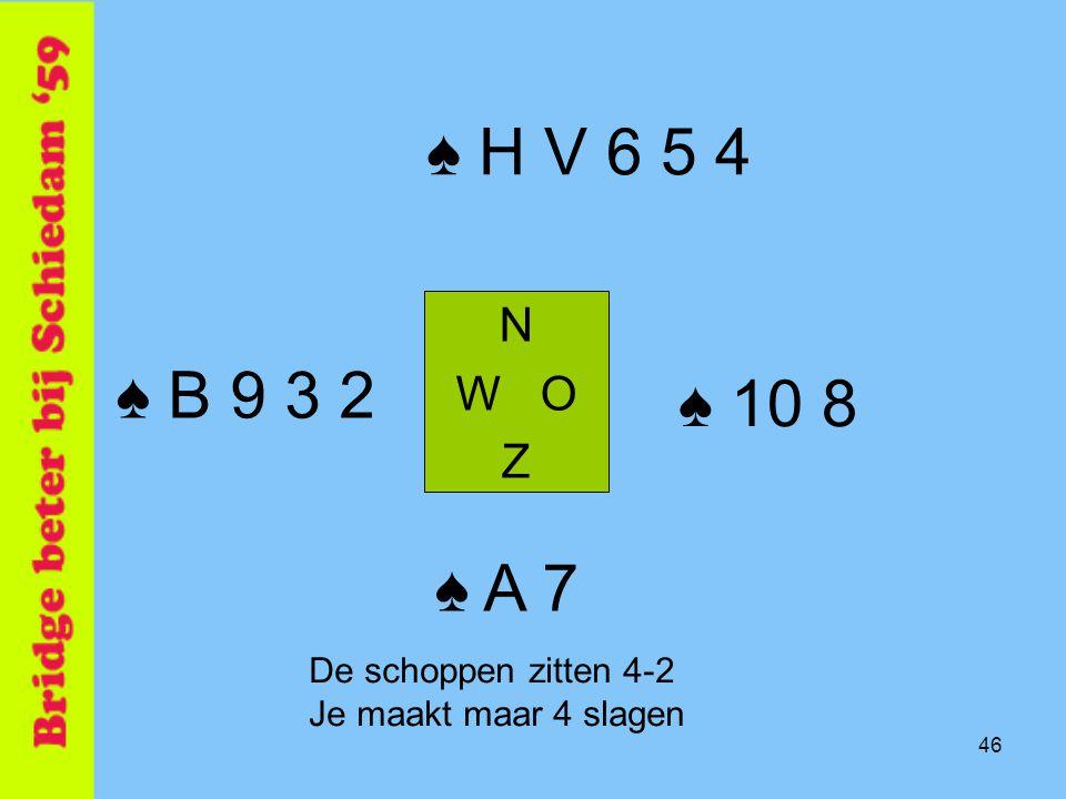 ♠ H V 6 5 4 ♠ B 9 3 2 ♠ 10 8 ♠ A 7 N W O Z De schoppen zitten 4-2