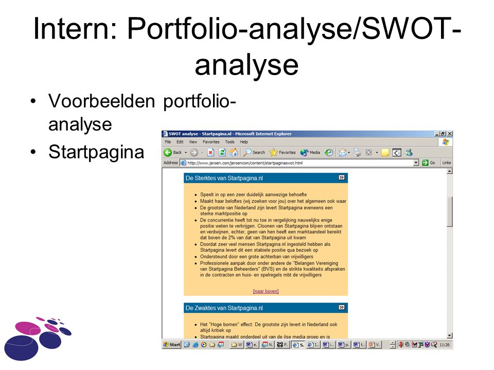 Intern: Portfolio-analyse/SWOT-analyse