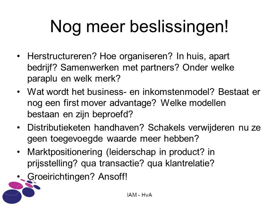 Nog meer beslissingen! Herstructureren Hoe organiseren In huis, apart bedrijf Samenwerken met partners Onder welke paraplu en welk merk