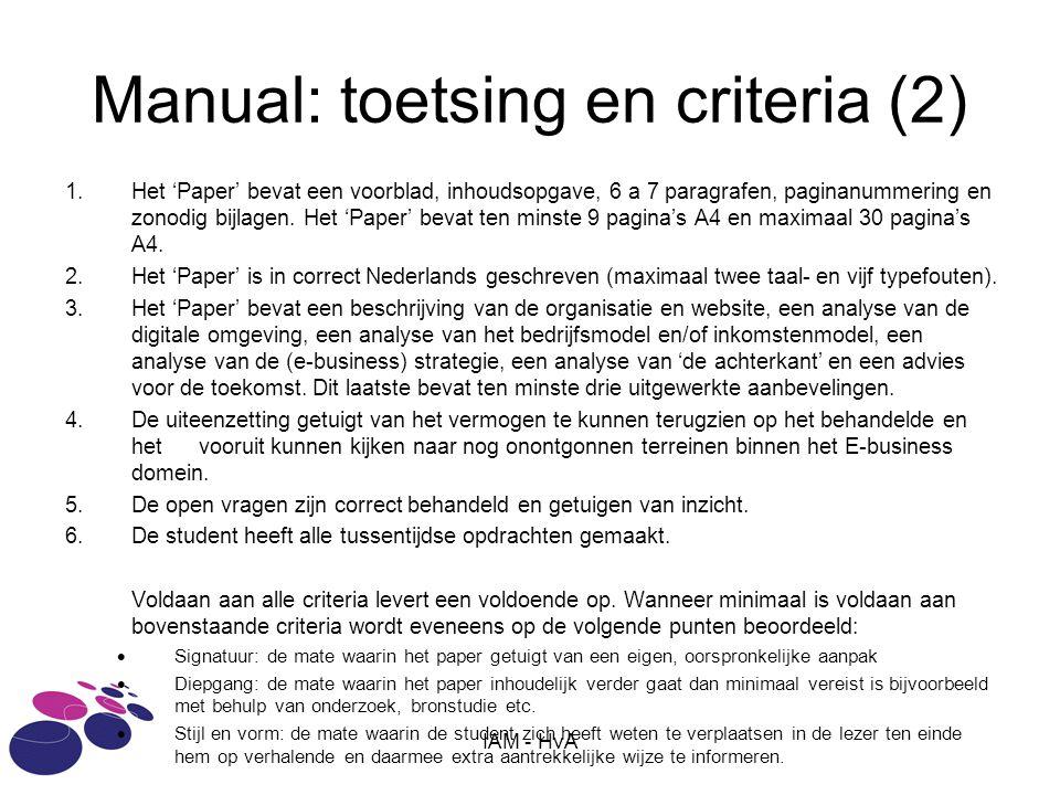 Manual: toetsing en criteria (2)