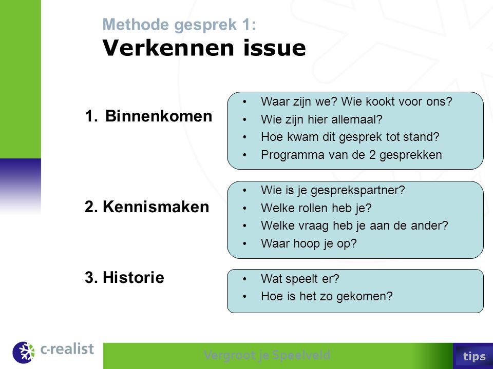 Methode gesprek 1: Verkennen issue