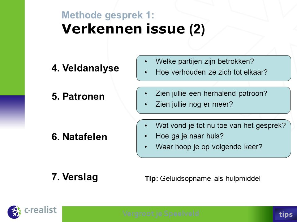 Methode gesprek 1: Verkennen issue (2)