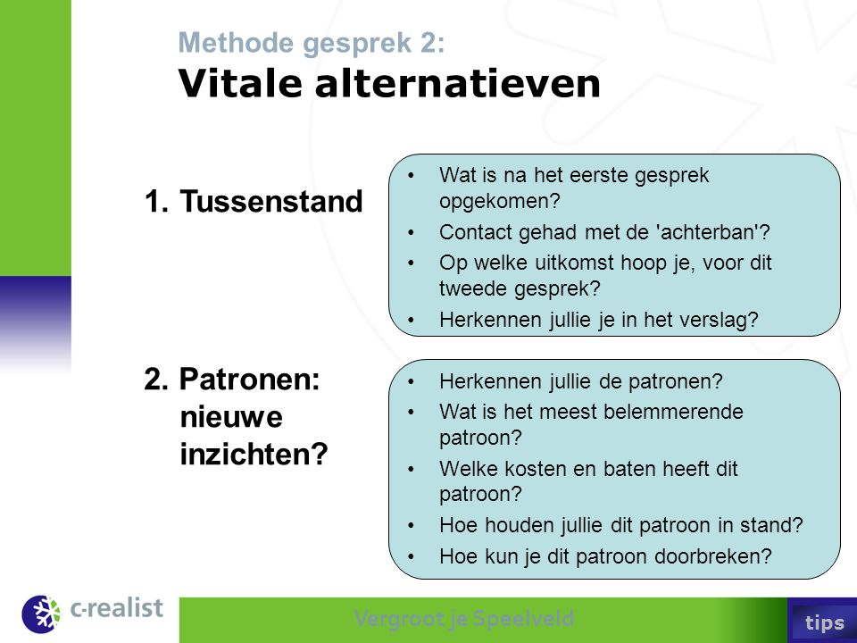 Methode gesprek 2: Vitale alternatieven