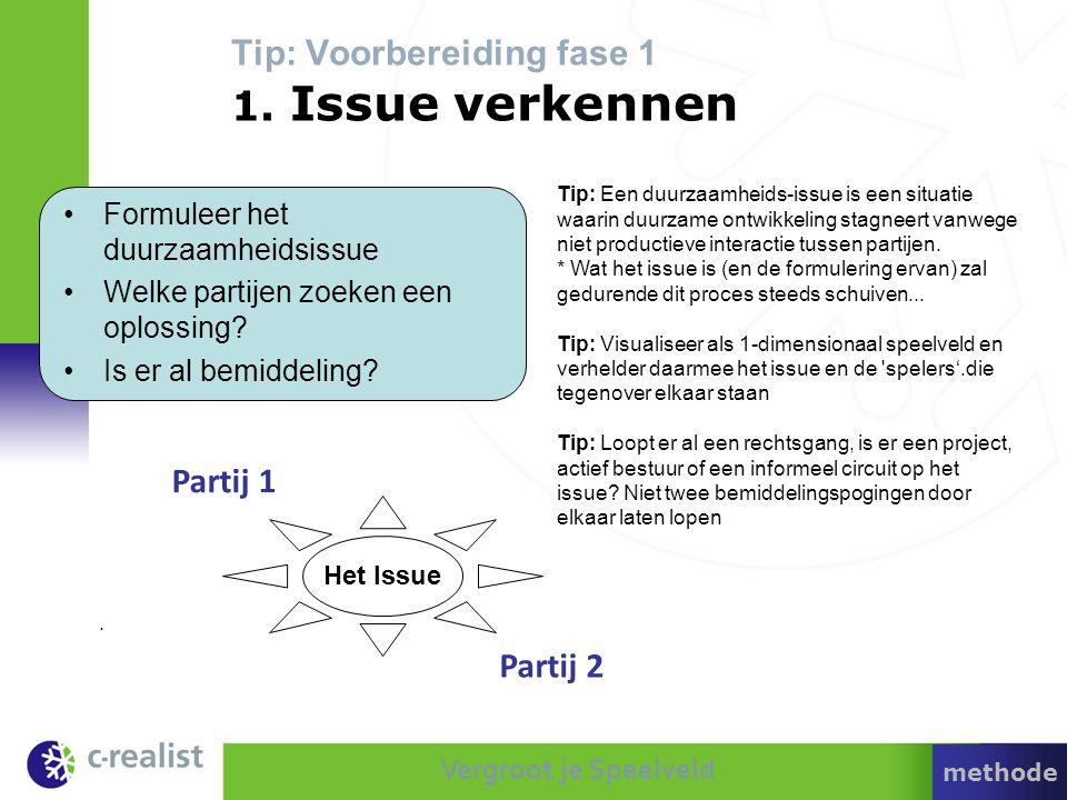 Tip: Voorbereiding fase 1 1. Issue verkennen