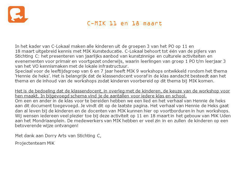 C-MIK 11 en 18 maart In het kader van C-Lokaal maken alle kinderen uit de groepen 3 van het PO op 11 en.