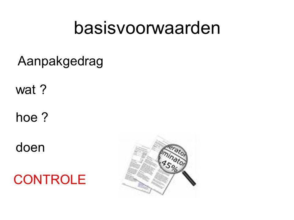 basisvoorwaarden Aanpakgedrag wat hoe doen CONTROLE