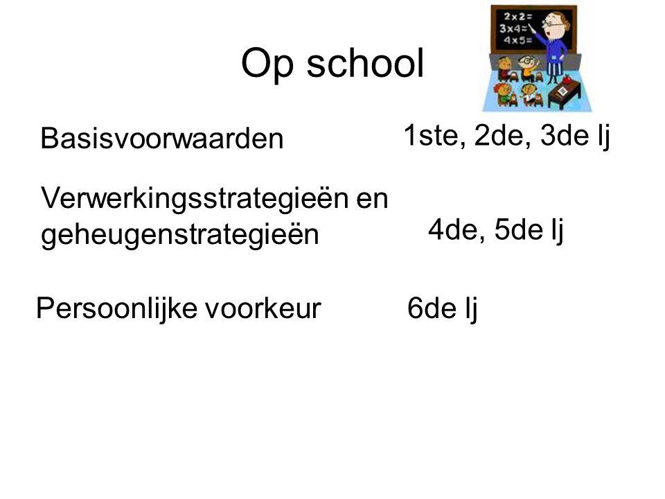 Op school Basisvoorwaarden 1ste, 2de, 3de lj
