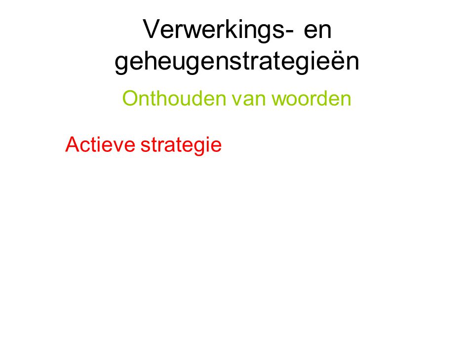 Verwerkings- en geheugenstrategieën