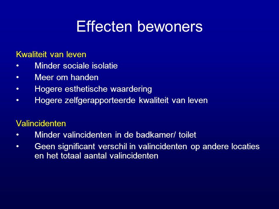 Effecten bewoners Kwaliteit van leven Minder sociale isolatie