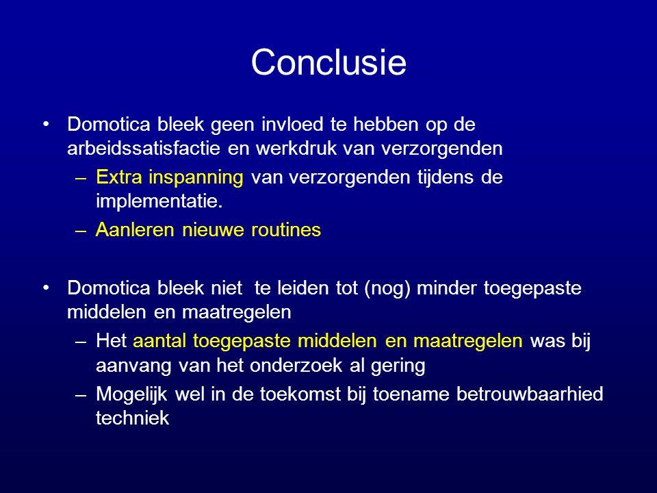 Conclusie Domotica bleek geen invloed te hebben op de arbeidssatisfactie en werkdruk van verzorgenden.