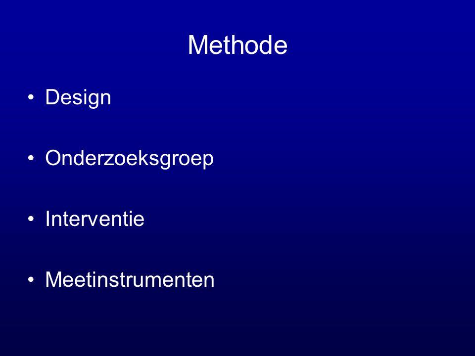 Methode Design Onderzoeksgroep Interventie Meetinstrumenten