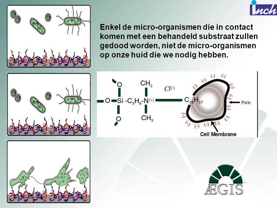 Enkel de micro-organismen die in contact komen met een behandeld substraat zullen gedood worden, niet de micro-organismen op onze huid die we nodig hebben.
