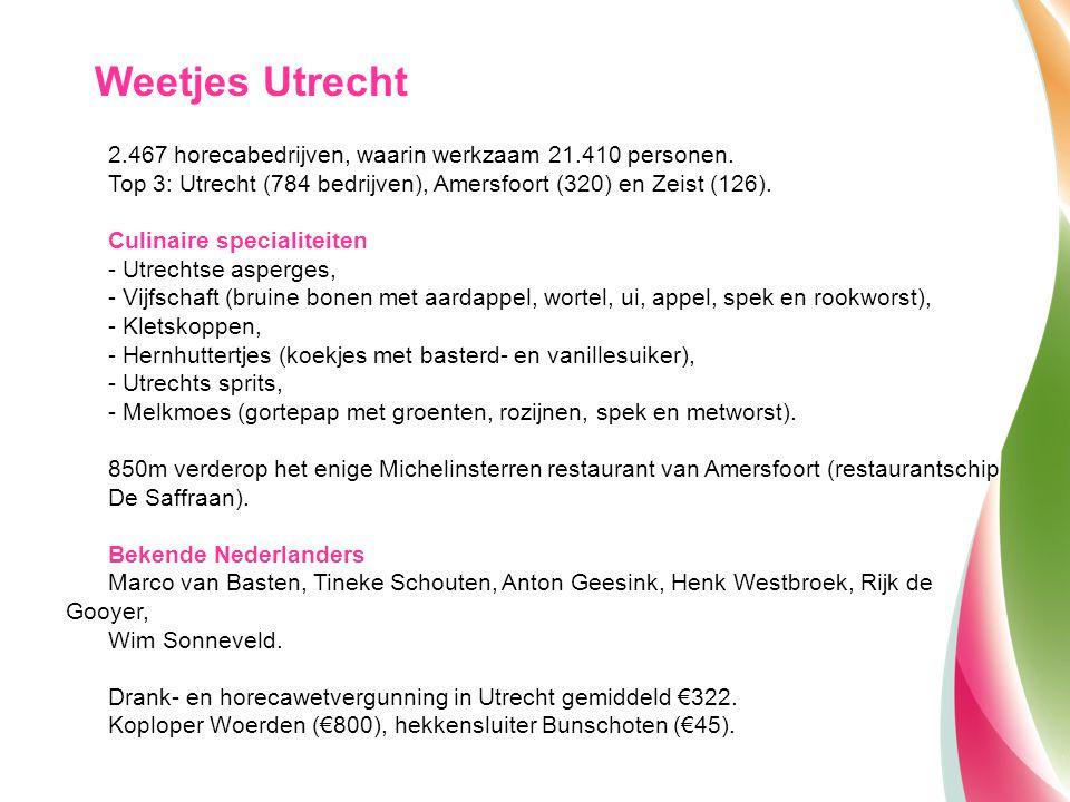 Weetjes Utrecht 2.467 horecabedrijven, waarin werkzaam 21.410 personen. Top 3: Utrecht (784 bedrijven), Amersfoort (320) en Zeist (126).