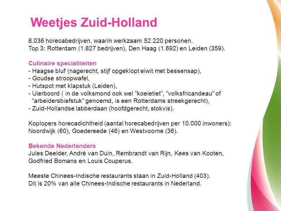 Weetjes Zuid-Holland 8.036 horecabedrijven, waarin werkzaam 52.220 personen. Top 3: Rotterdam (1.827 bedrijven), Den Haag (1.692) en Leiden (359).