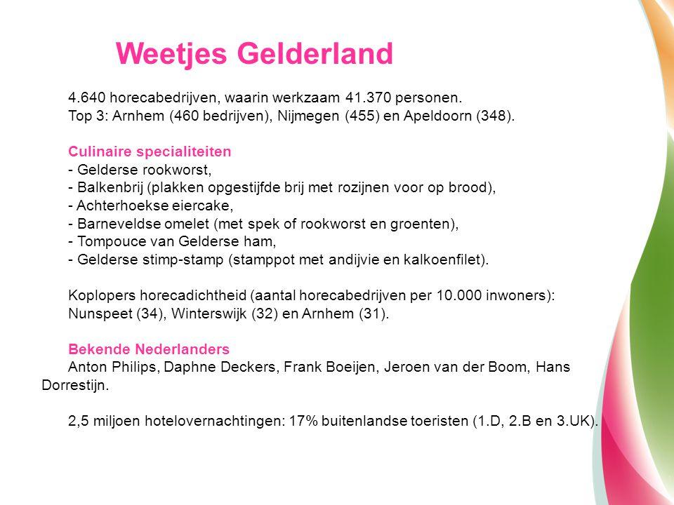 Weetjes Gelderland 4.640 horecabedrijven, waarin werkzaam 41.370 personen. Top 3: Arnhem (460 bedrijven), Nijmegen (455) en Apeldoorn (348).