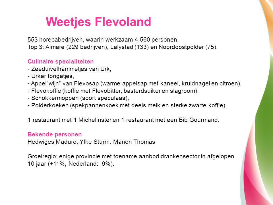 Weetjes Flevoland 553 horecabedrijven, waarin werkzaam 4.560 personen.