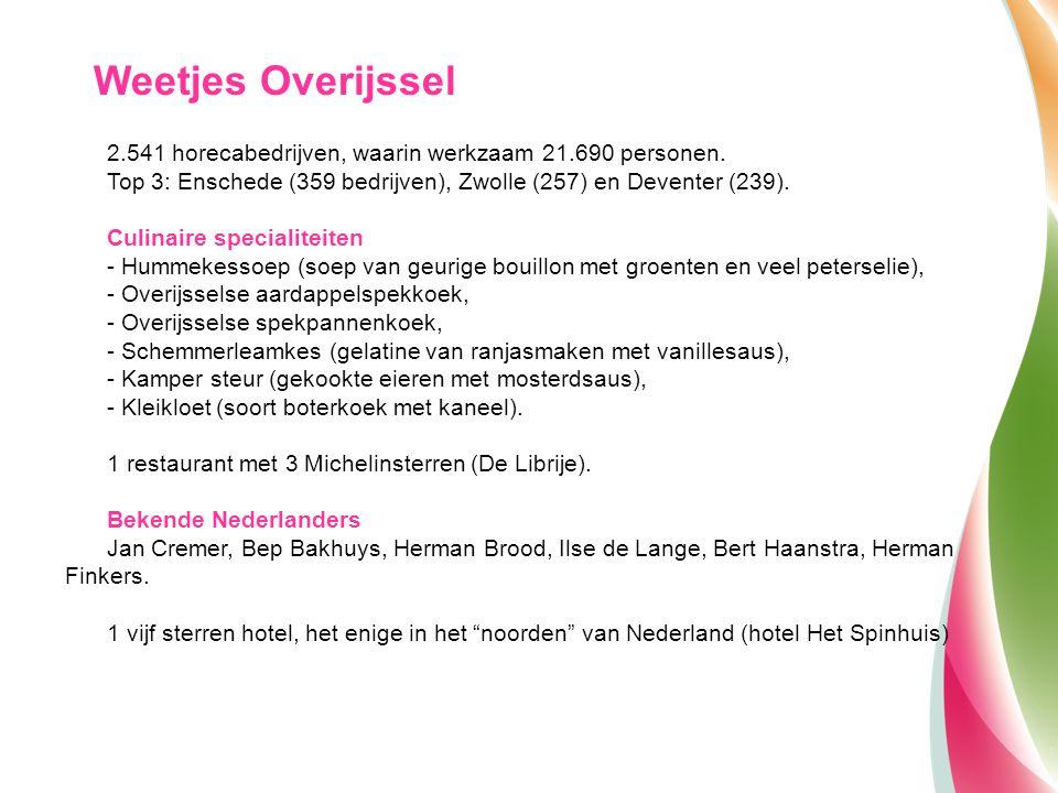 Weetjes Overijssel 2.541 horecabedrijven, waarin werkzaam 21.690 personen. Top 3: Enschede (359 bedrijven), Zwolle (257) en Deventer (239).