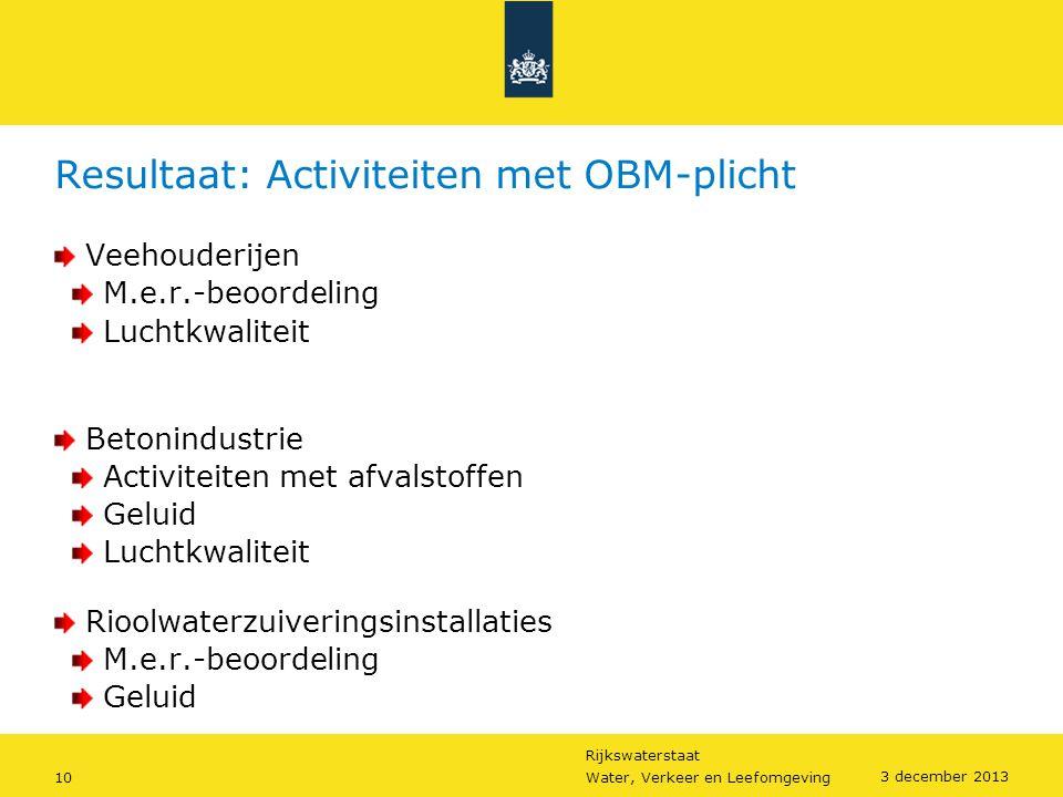 Resultaat: Activiteiten met OBM-plicht