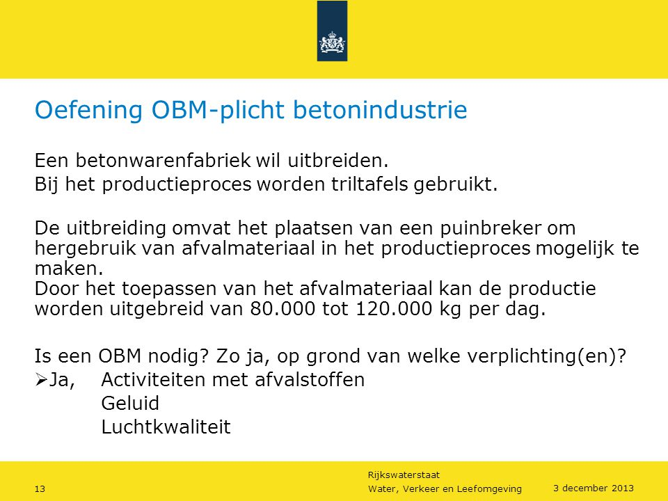 Oefening OBM-plicht betonindustrie