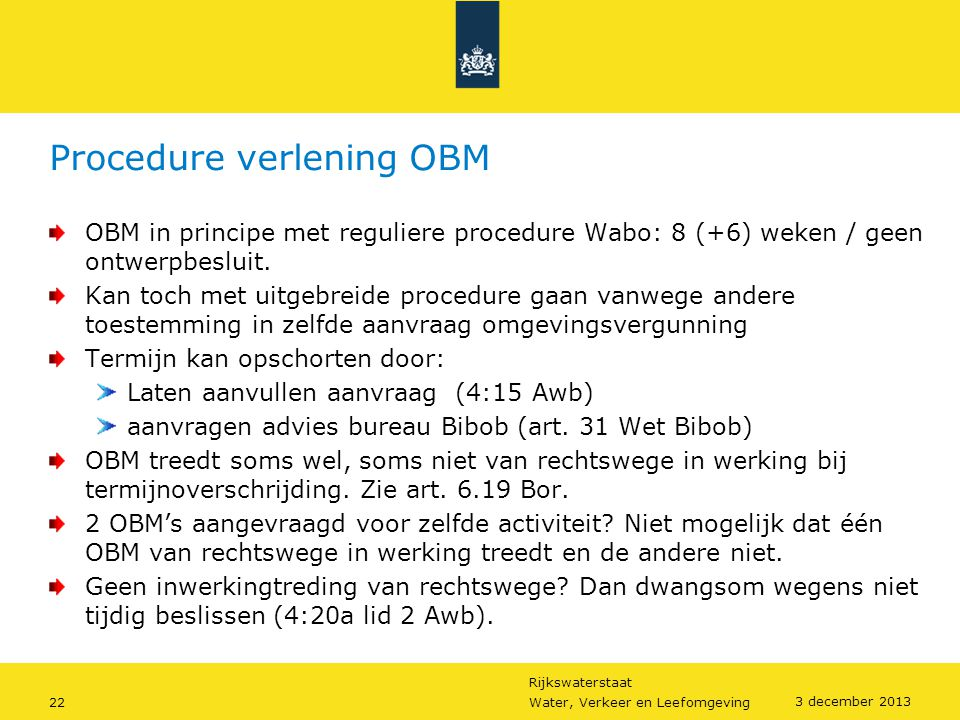 Procedure verlening OBM