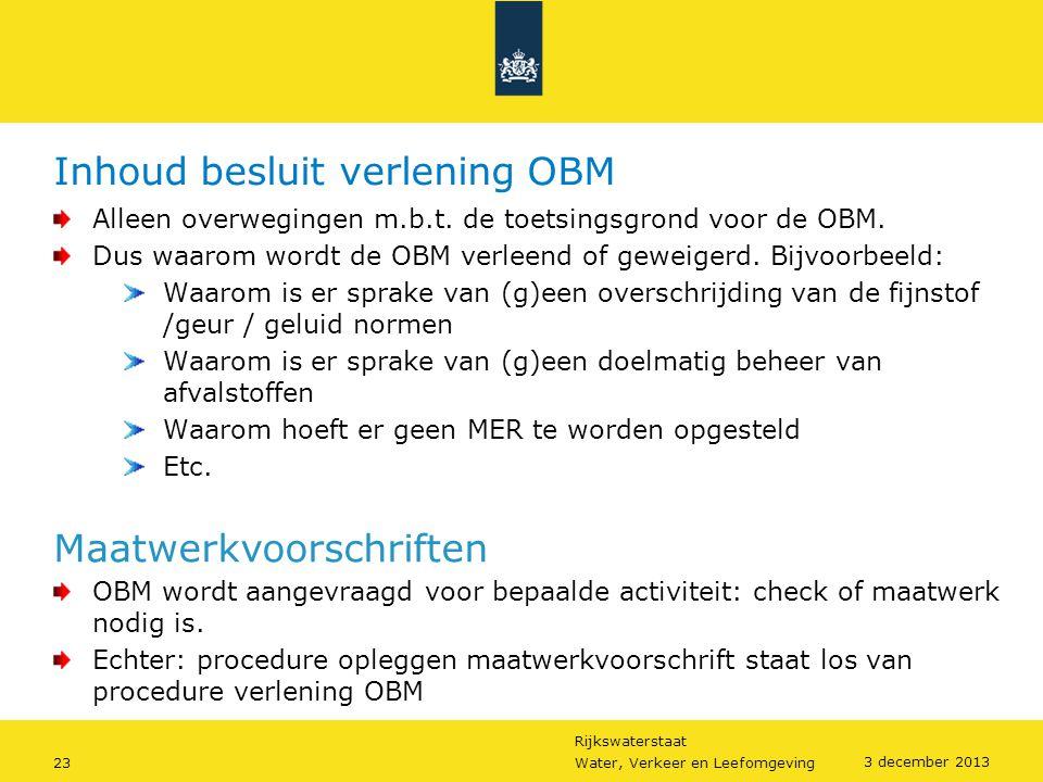 Inhoud besluit verlening OBM