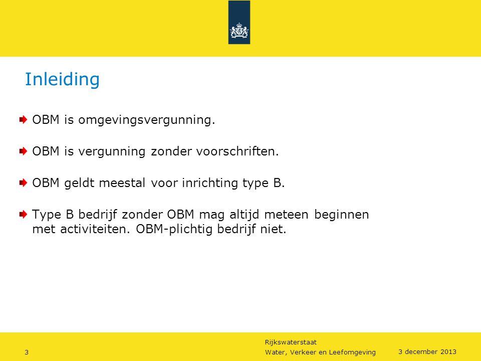 Inleiding OBM is omgevingsvergunning.