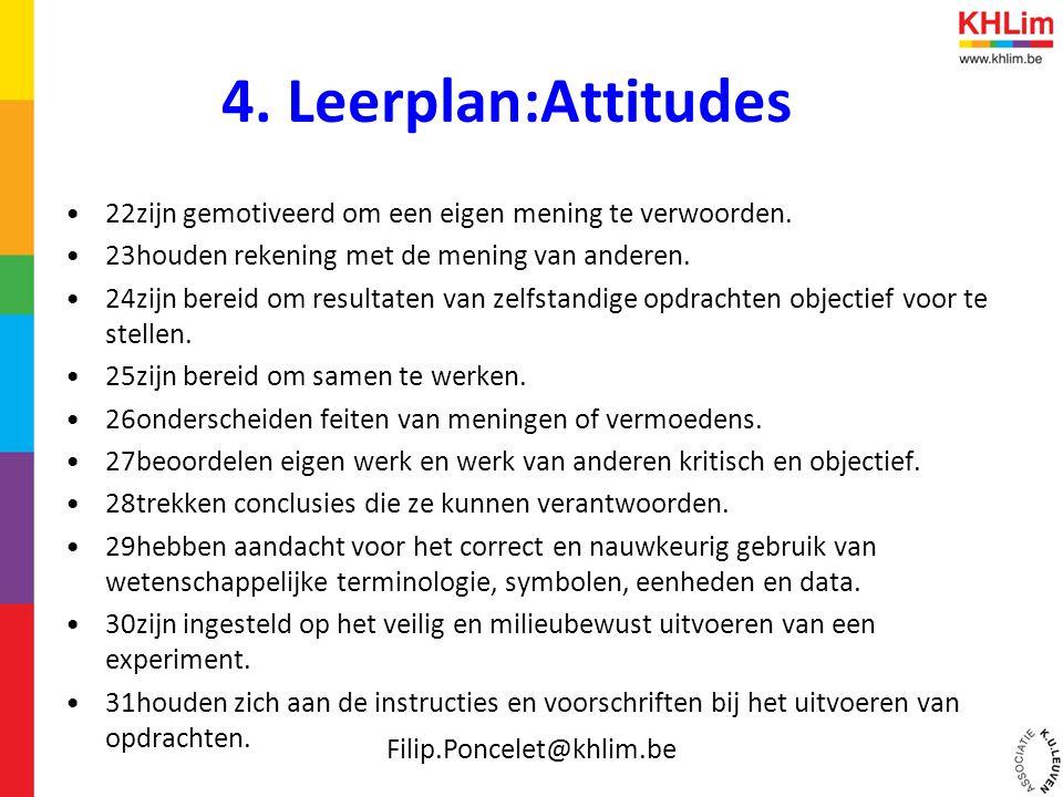 4. Leerplan:Attitudes 22zijn gemotiveerd om een eigen mening te verwoorden. 23houden rekening met de mening van anderen.