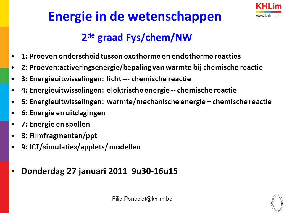 Energie in de wetenschappen 2de graad Fys/chem/NW