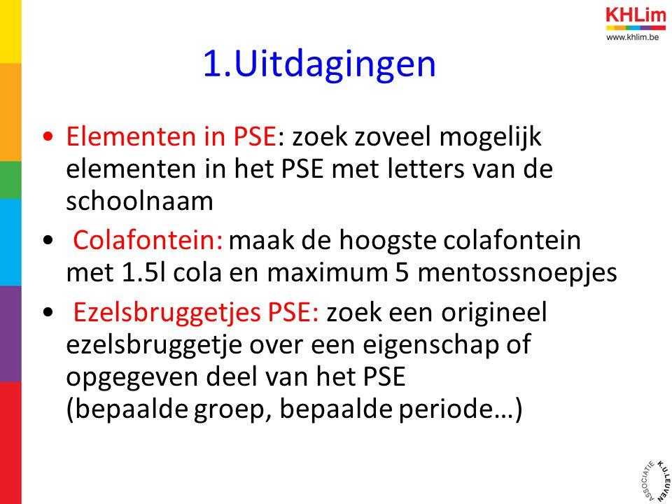 1.Uitdagingen Elementen in PSE: zoek zoveel mogelijk elementen in het PSE met letters van de schoolnaam.
