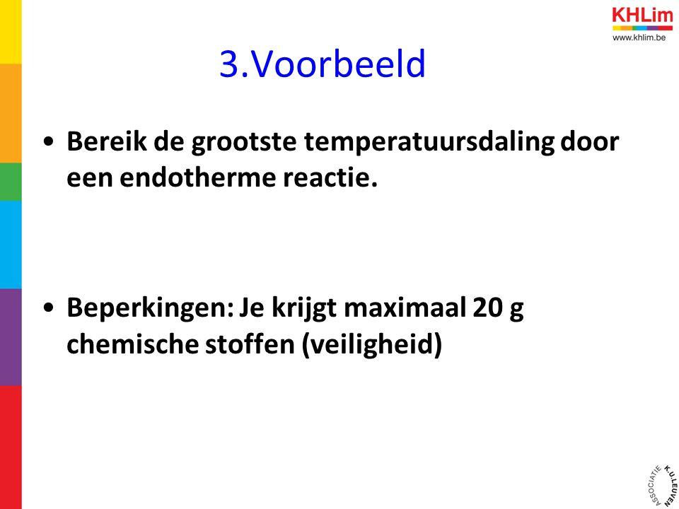 3.Voorbeeld Bereik de grootste temperatuursdaling door een endotherme reactie.