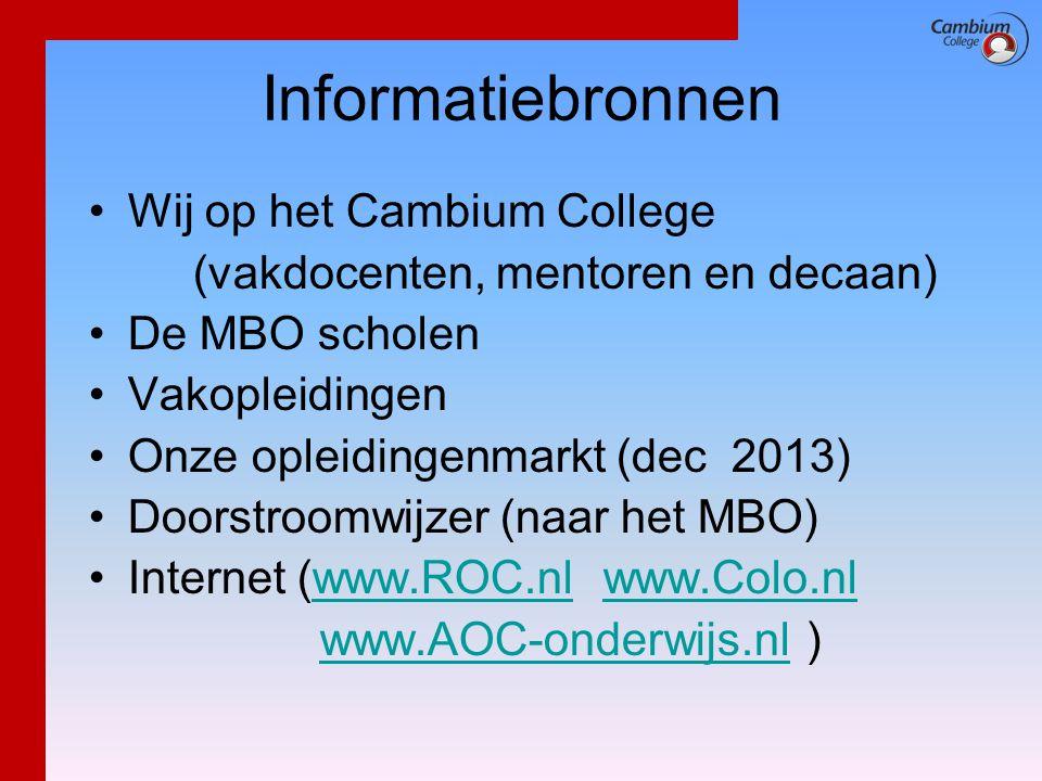 Informatiebronnen Wij op het Cambium College