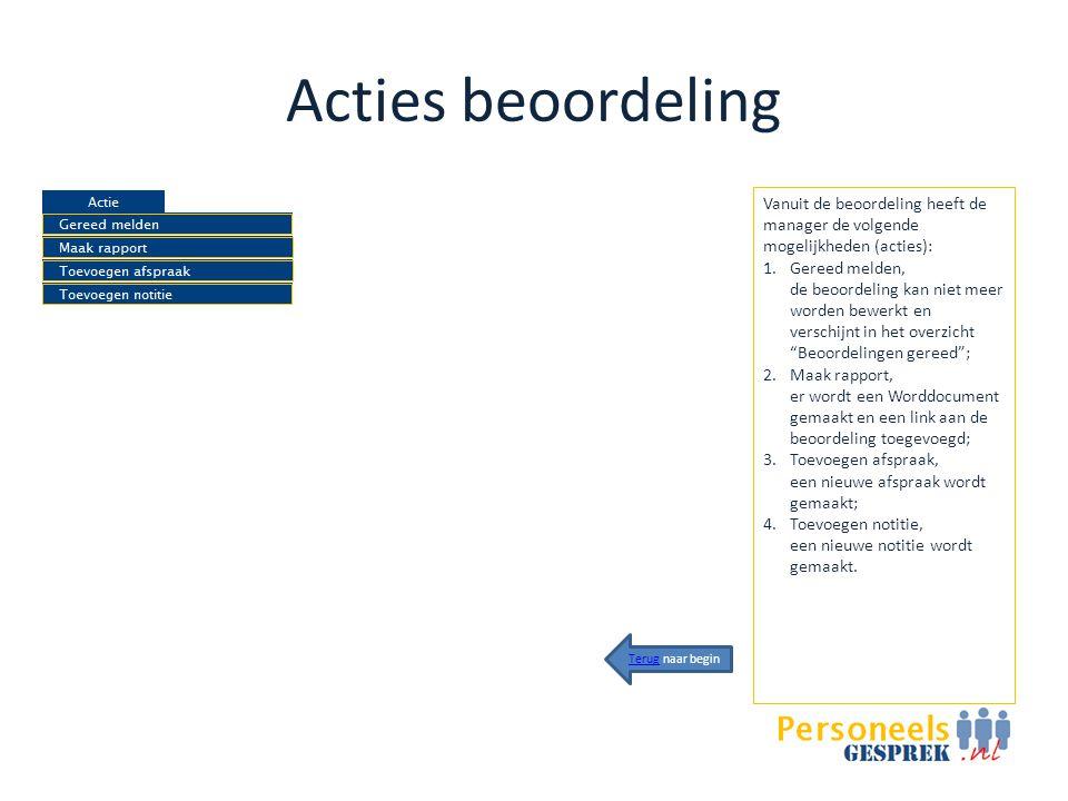 Acties beoordeling Vanuit de beoordeling heeft de manager de volgende mogelijkheden (acties):