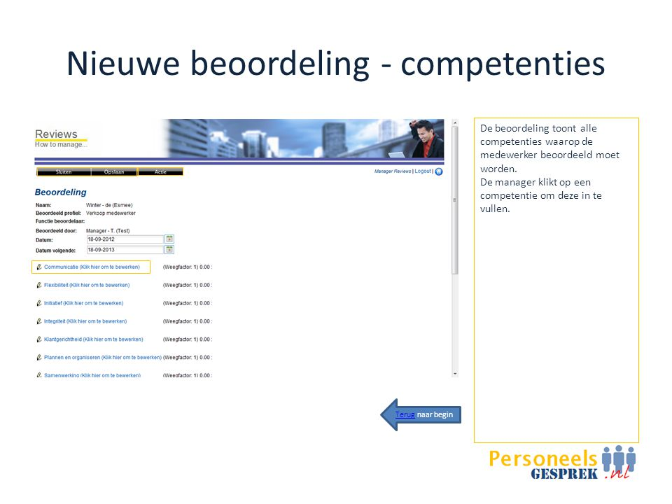 Nieuwe beoordeling - competenties