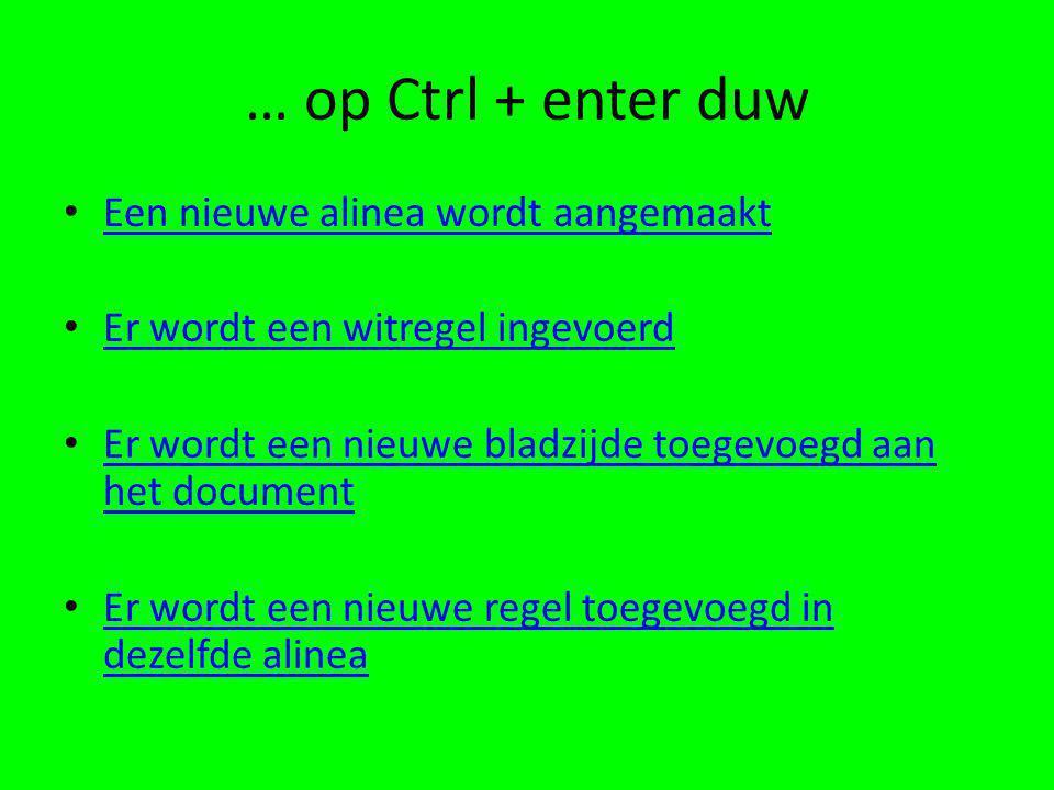 … op Ctrl + enter duw Een nieuwe alinea wordt aangemaakt