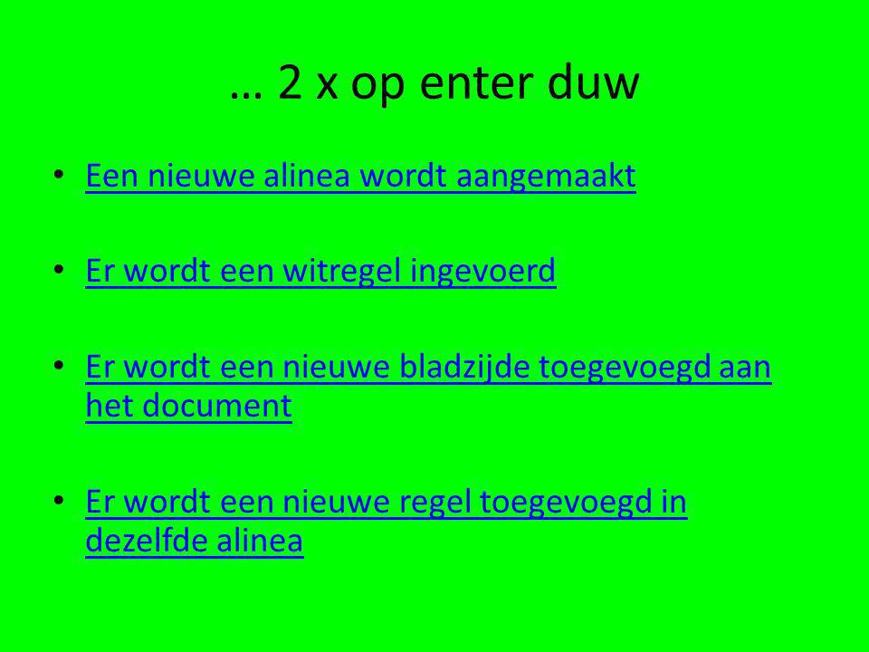 … 2 x op enter duw Een nieuwe alinea wordt aangemaakt