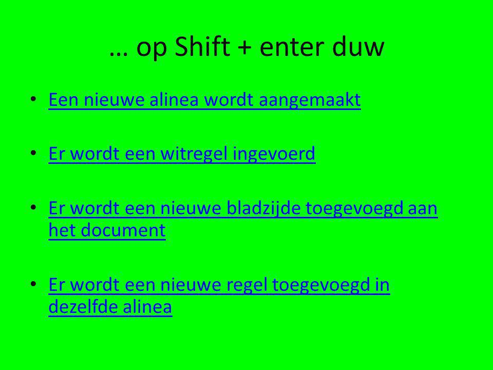 … op Shift + enter duw Een nieuwe alinea wordt aangemaakt