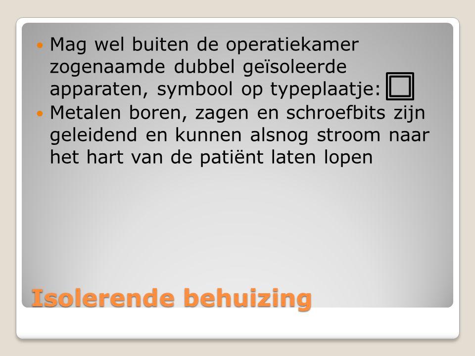 Mag wel buiten de operatiekamer zogenaamde dubbel geïsoleerde apparaten, symbool op typeplaatje: